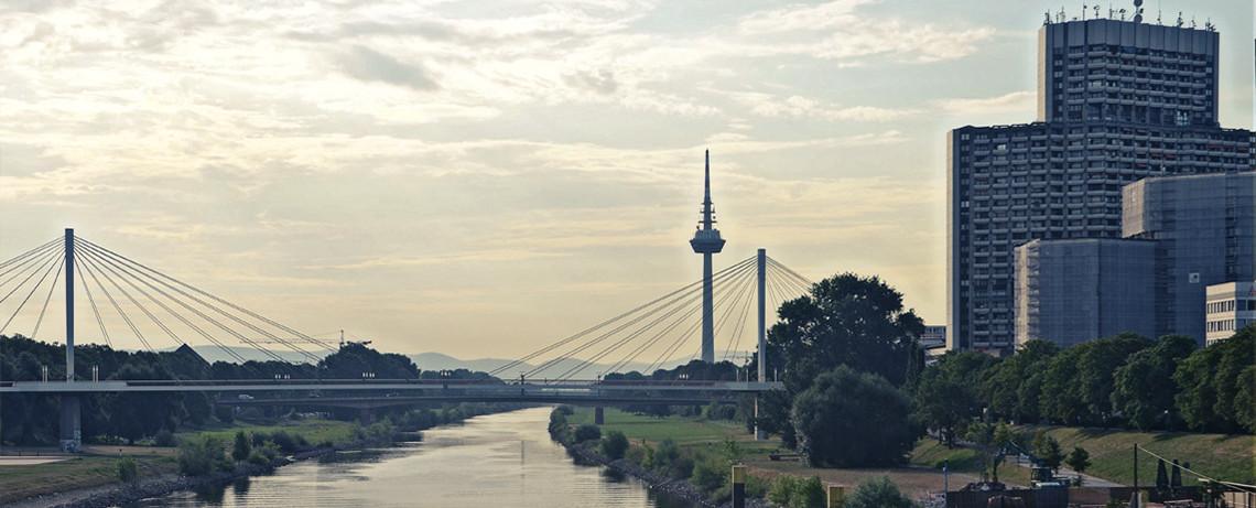 Blick über den Neckar und zum Fersehturm