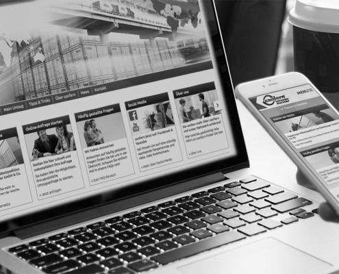 Startseite der confern Website, sowohl auf Desktop als auch auf dem Smartphone