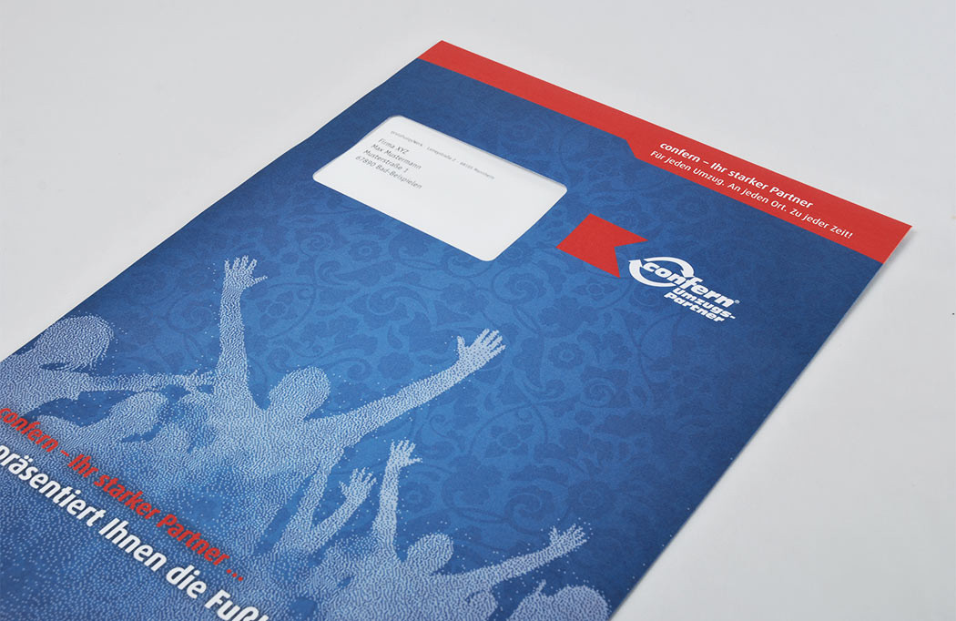 Das Werbemittel wird in einem individuellen Umschlag verschickt.